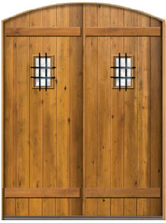 Arch Top Double Pank Door with speakeasy wood straps and honey finish & Exterior Doors Custom and Stock - Homestead Interior Doors