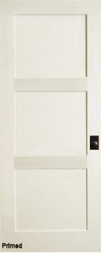 Primed mdf 3 panel contemporary interior doors homestead for 6 horizontal panel doors