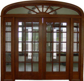 American Cherry 15-Light w/transom and sidelights