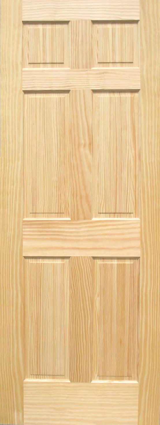 Pine 6 panel wood interior doors homestead doors for Hardwood interior doors