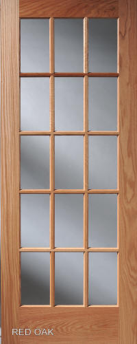Merveilleux ... Red Oak Divided Lite French Interior Door ...