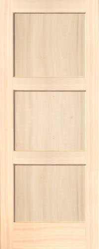 Contemporary 3 Panel Poplar Wood Interior Doors