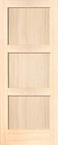 Poplar Contemporary 3-Panel Interior Door
