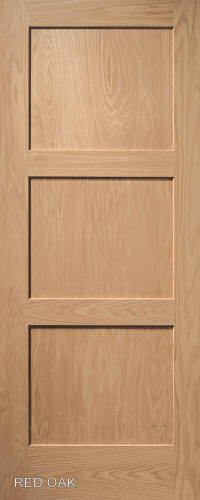3panel interior door in red oak wood