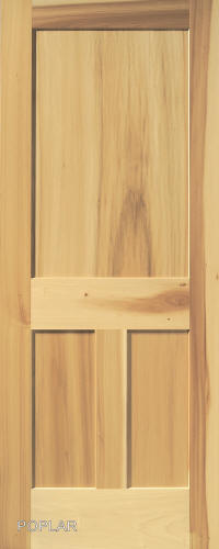 Reverse 3 Panel Interior Door In Poplar Wood