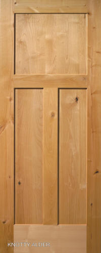 Knotty Alder Mission 3 Panel Wood Interior Doors