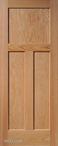 Red Oak Mission 3 Panel Wood Interior Doors