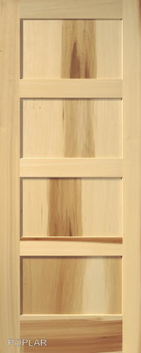 Contemporary 4 Panel Interior Door (in Poplar Wood) ...