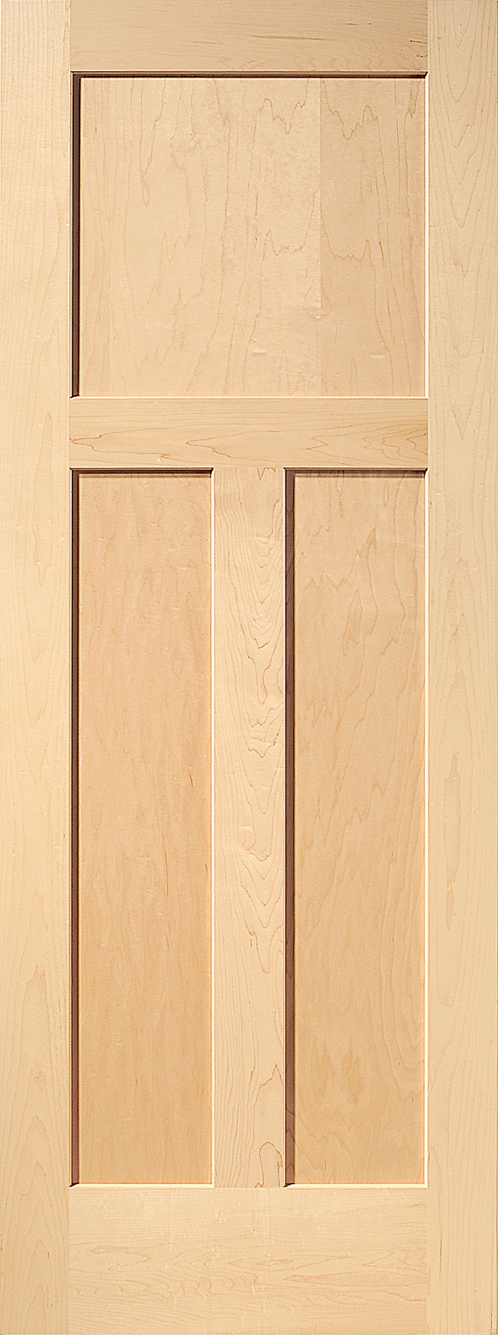 Maple mission 3 panel wood interior door homestead doors for Solid wood panel interior doors