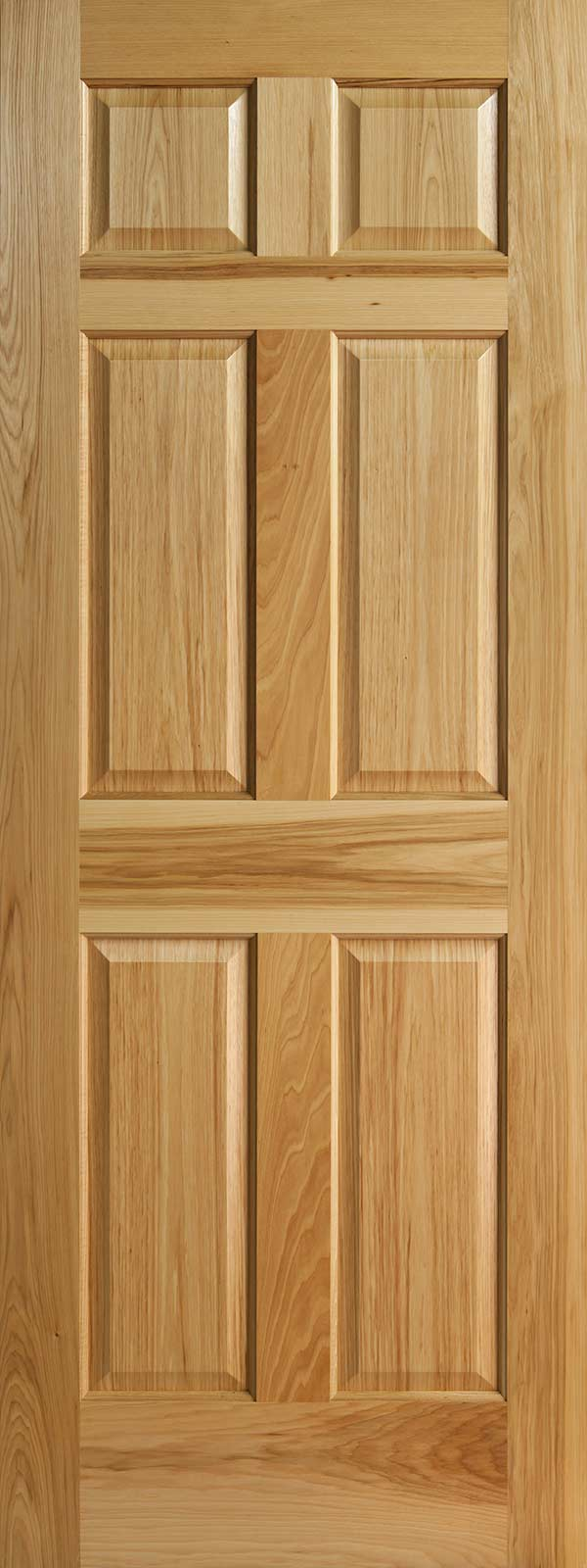 Hickory 6 panel interior doors with raised panels for Solid wood panel interior doors