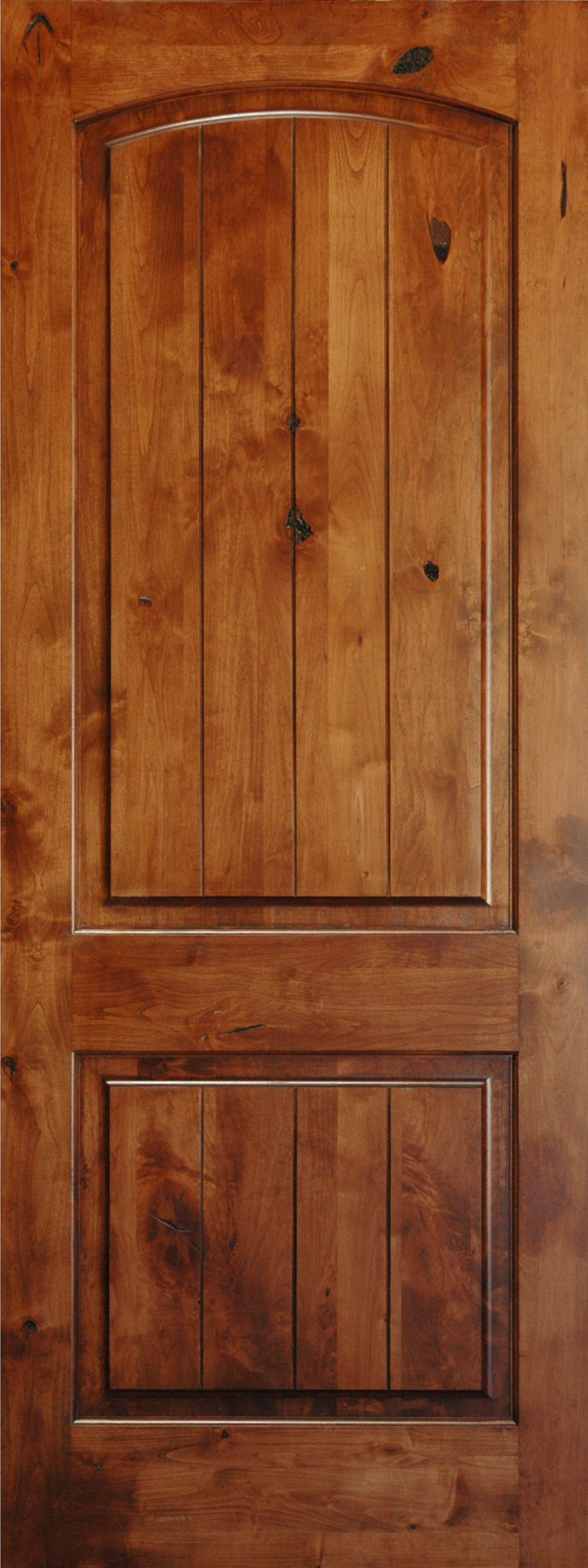 Knotty alder 8 39 v groove arch 2 panel wood interior doors for Hardwood doors
