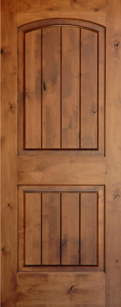 Knotty Alder Arch-Top 2-Panel V-Grooved Doors - Homestead