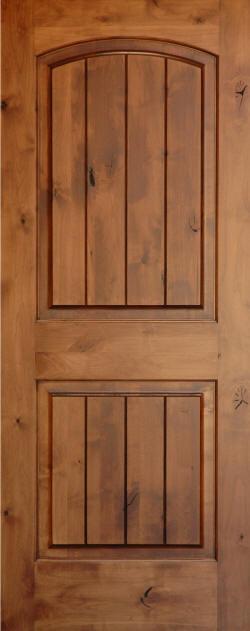 Knotty Alder Arch Top 2 Panel V Grooved Doors Homestead