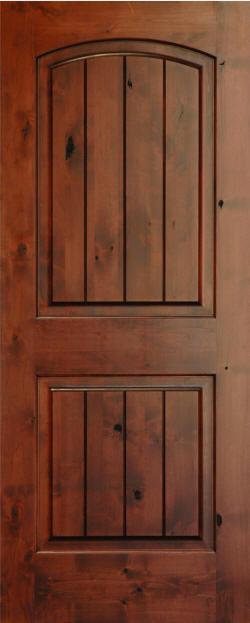 Knotty alder arch top 2 panel v grooved doors homestead for Knotty alder wood doors
