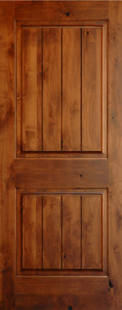 Knotty Alder 2-Panel Interior Door with V-Grooves and Candlelight Finish