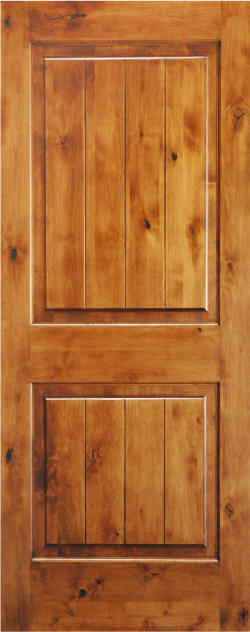 Knotty Alder 2-Panel Door with V-Grooves and Natural Finish