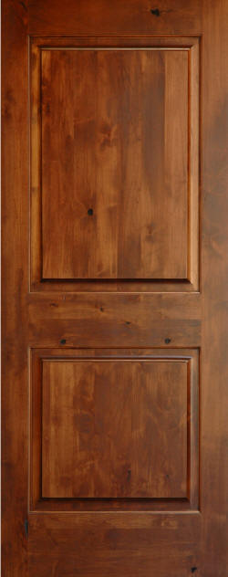 Candlelight Finished Knotty Alder 2-Panel Interior Door