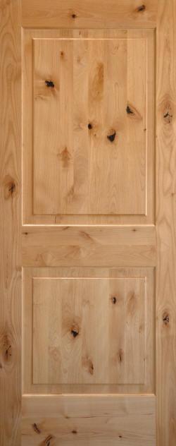 Lovely Unfinished Knotty Alder 2 Panel Interior Door