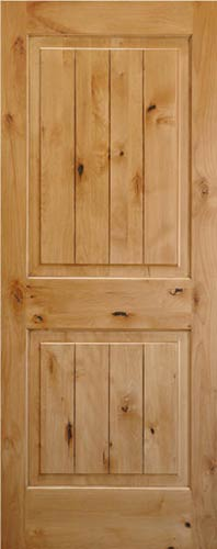 Knotty Alder V Grooved 2 Panel Wood Interior Doors