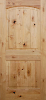 knotty alder 2 panel with v-grooved arch raised panel