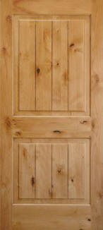 knotty cypress v-grooved raised 2 panel interior door