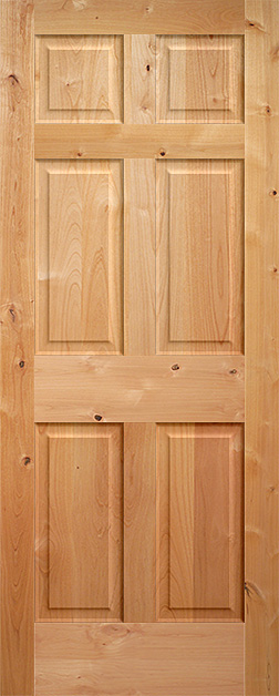 Superbe Knotty Alder 6 Panel Wood Interior Door