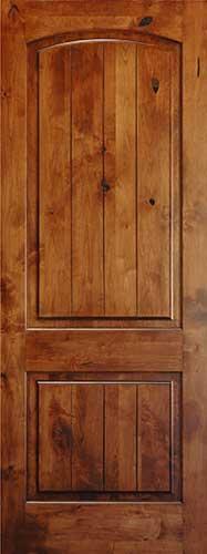Knotty Alder 8 V Groove Arch 2 Panel Wood Interior Doors