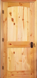 Knotty Pine Arch 2-Panel Doors with V-Grooves