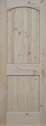 Knotty Pine Arch 2 Panel Doors With V Grooved Raised Panels Homestead Doors