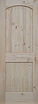 Knotty Pine Arch Raised 2-Panel V-Grooved Interior Door