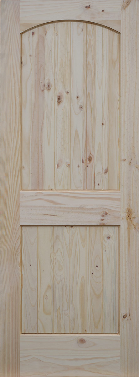 Knotty pine arch 2 panel doors with v grooved raised for Door design with groove