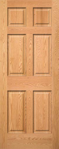 Red Oak 6 Panel Wood Interior Door