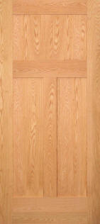 SolidWoodTraditional3PanelRedOakDoor