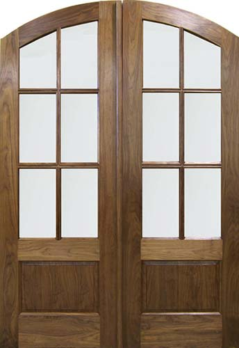 walnut solid wood arch top exterior double door