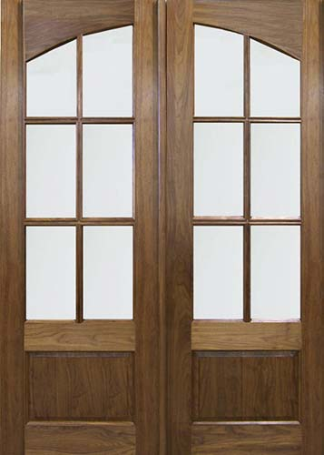 Solid Wood T-6111 Square-Top Arch-Panel Double Exterior Door