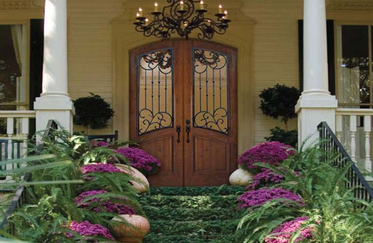 Wood exterior doors photo gallery homestead doors the for Small double front doors