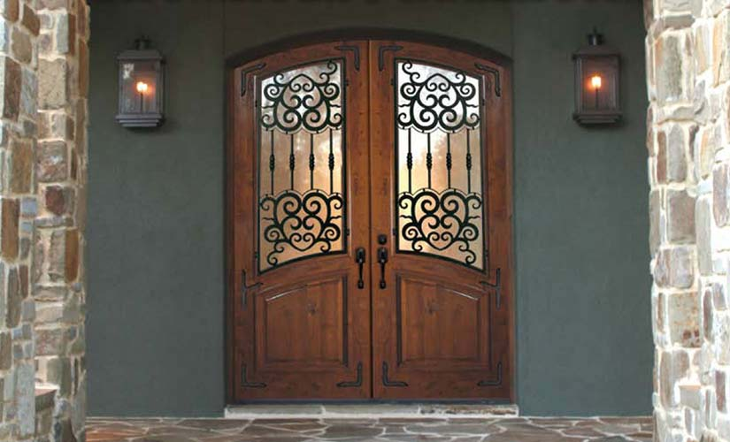 ... Barcelona Knotty Alder Wood Wrought Iron Exteriors Doors ... Part 63