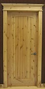 Knotty Alder 1-Panel Interior Door with Arch Top and V-Grooves