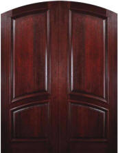 Solid Mahogany 2-Panel Arch-Top Exterior Double Door