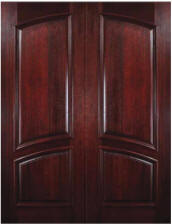 Solid Mahogany Square-Top Arch-Panel Double Entry Door