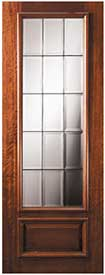 DP834FL1 Solid Mahogany Exterior Door French 3/4-Lite Design