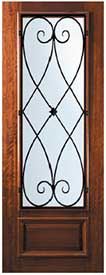 Wrought Iron Exterior Mahogany Door 3/4-Lite Charleston Design