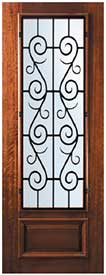 Mahogany Front Door St. Charles style Wrought Iron 3/4-Lite