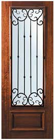 Mahogany Entry Door 3/4-Lite with Valencia Wrought Iron Grill