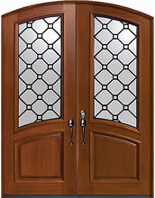 Mahogany Entry Door Casablanca Decorative Glass