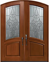 Mahogany Courtlandt Decorative Glass Exterior Double Door