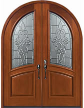 Mahogany Exterior Doors - Round Top Courtlandt Decorative Glass Design