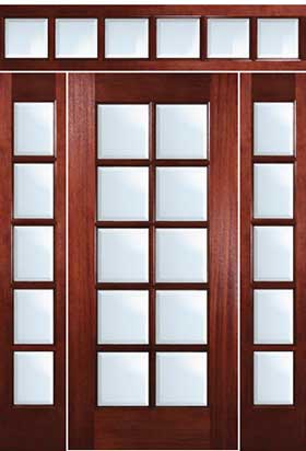 Mahogany Exterior Doors 10 Lite Door With Sidelites And Transom
