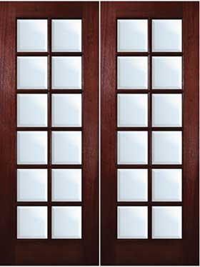mahogany exterior doors 12 lite double door