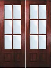 TDL 6-light Mahogany Exterior Double Doors